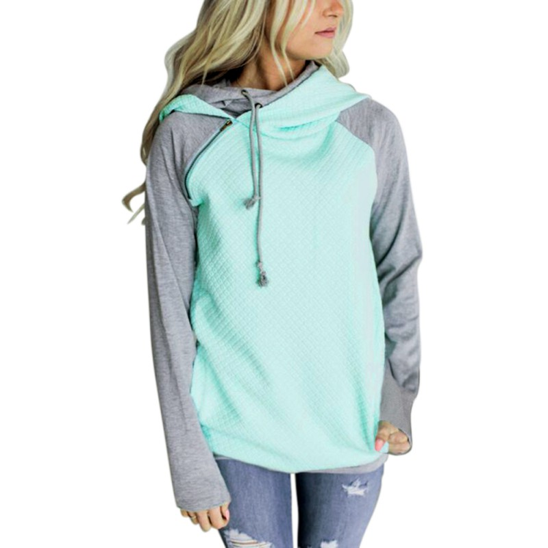 ROPALIA elegante 2017 otoño Hooeded Sudadera Mujer Patchwork manga larga Pullover Streetwear bolsillo algodón Blend Hoodies S-XL