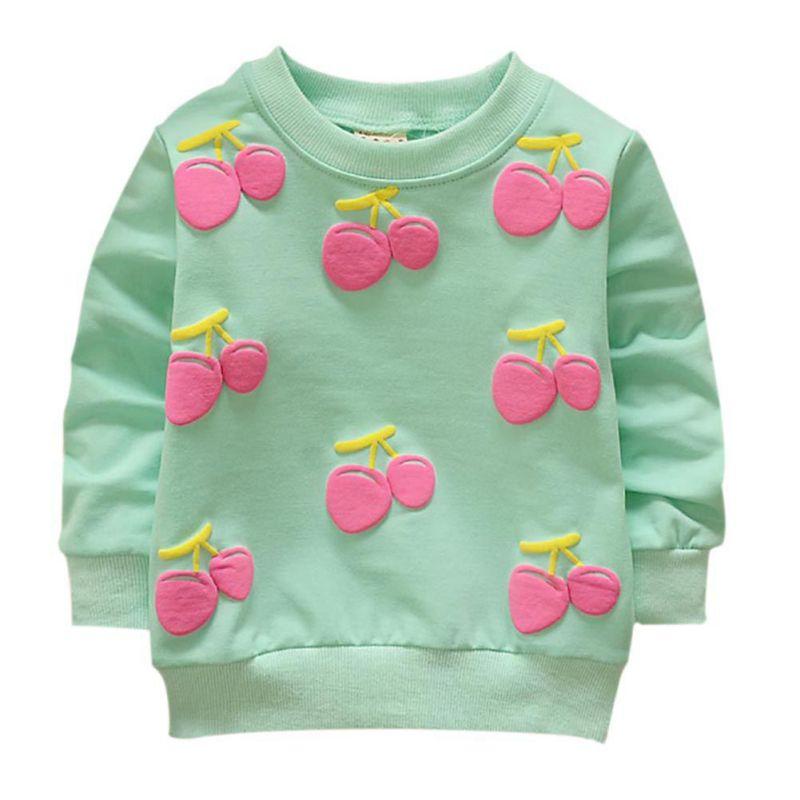 2017 Winter Warm Sweatshirts Cherry Baby Girls Boys Hoodies Toddler Kids Sweatshirts Lovely Round Neck Long Sleeves Hoodies