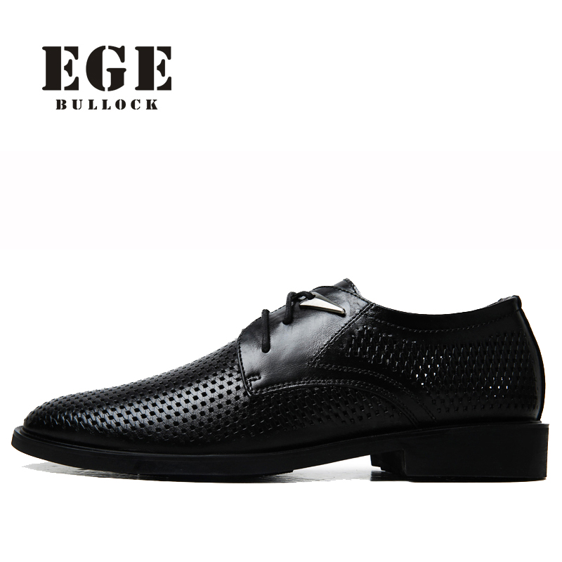 Men Oxfords EGE Brand British Style Genuine Cow Leather Male Flats Wedding Shoes Lace-up Pointed toe Summer Men Dress Shoes okhotcn male pointed toe cow leather shoes daily plaid men casual business dress shoes oxfords men flat lace up sapato masculino