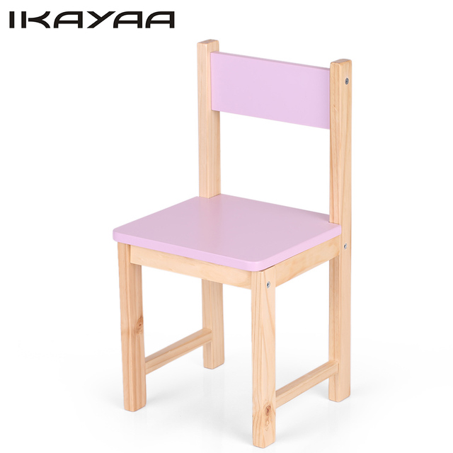 iKayaa US Stock Cute Wooden Kids Chair Stool Solid Pine Wood Children Stacking School Chair Furniture 80KG Load Capacity