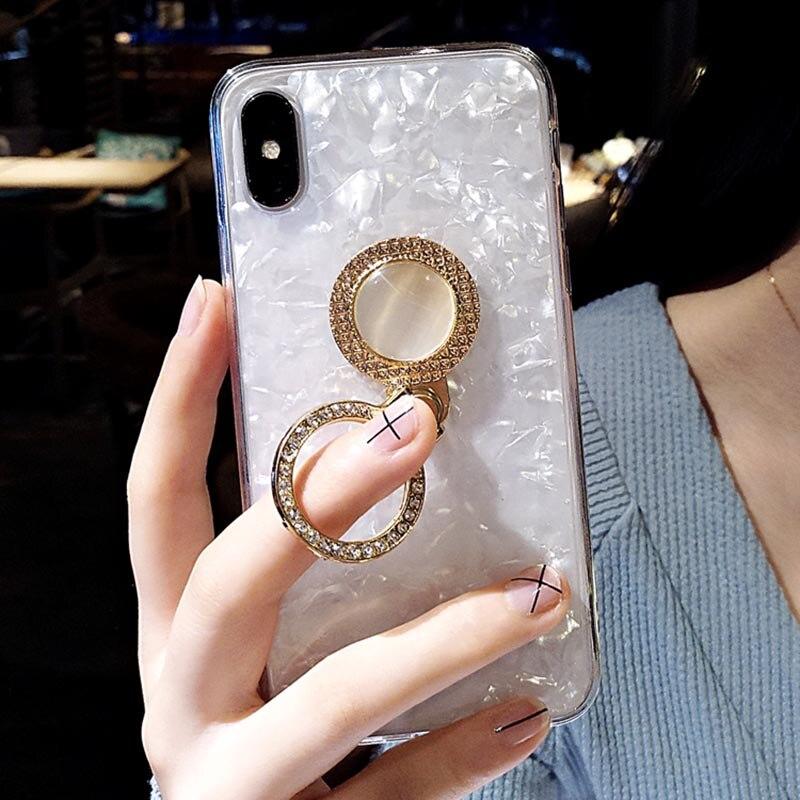 iPhone 6 6s Plus 7 8 X Finger Holder Diamond Kickstand Cover Soft ... b4beacc19548