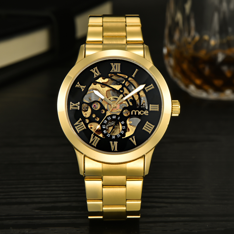 Brand MCE Mechanical Men Skeleton Watch Automatic Bracelete Golden Black Transparent Watches Luxury Relogio Masculino Dourado