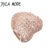 Fyla Mode Zircon Pave Heart Bead Charms Fit Thomas Style Karma Jewelry Good Jewelry Men Women Ts Gift Rose Gold Plated Super