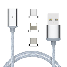 3 In 1 Nylon Braided Magnetic Micro USB Adapter Sync Wire Magnet Data Cable Cord Fast Charging Both For Android iPhone Type-C