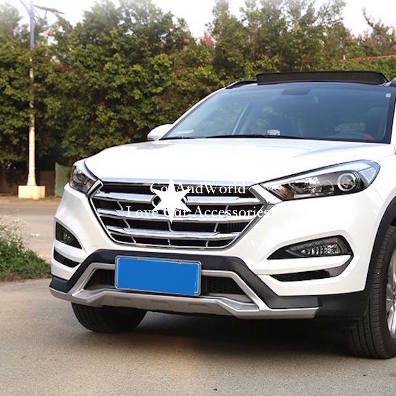 For Hyundai Tucson 2015 2016 2017 Front Center Grille Cover Frame Grilles Front Bumper Hood ABS Sticker Trim Car Accessories