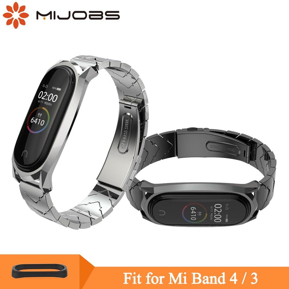 Mijobs Mi Band 4 Metal Strap Bracelet For Xiaomi Mi Band 4 3 Strap Screwless Stainless Steel MiBand 3 Wrist Band Smart Wristband