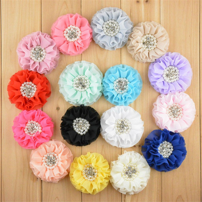 50pcs/lot 16 Color U Pick 3.15 Inch Large Beaded Chiffon Fabric Flowers With Pearl Rhinestone Hair Accessories DIY Supply FH24 цена