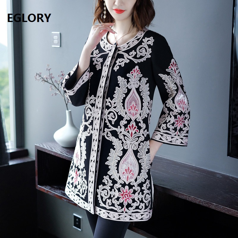 XXXXL!Top Quality Women Plus Size Clothing 2018 Autumn Winter Coats Female Luxurious Allover Appliques Embroidery Coat Trench