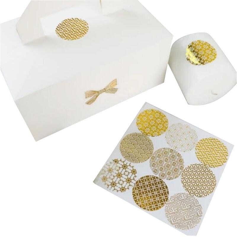 160pcs/lot Round Hot Foil Gold Seal Sticker Multiple Styles Pattern Series DIY Multifunction Bronzing Gift Label Baking Sticker