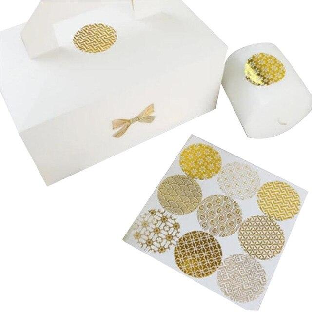 90 unids/lote diámetro 4 cm ronda de oro caliente de la hoja etiqueta engomada transparente patrón series DIY multifunción regalo etiqueta de la etiqueta engomada