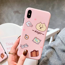Pink women bear case the phone for iPhone xr 8plus silicone scrub soft cartoon anger cover 7 8 6 s plus x xs max