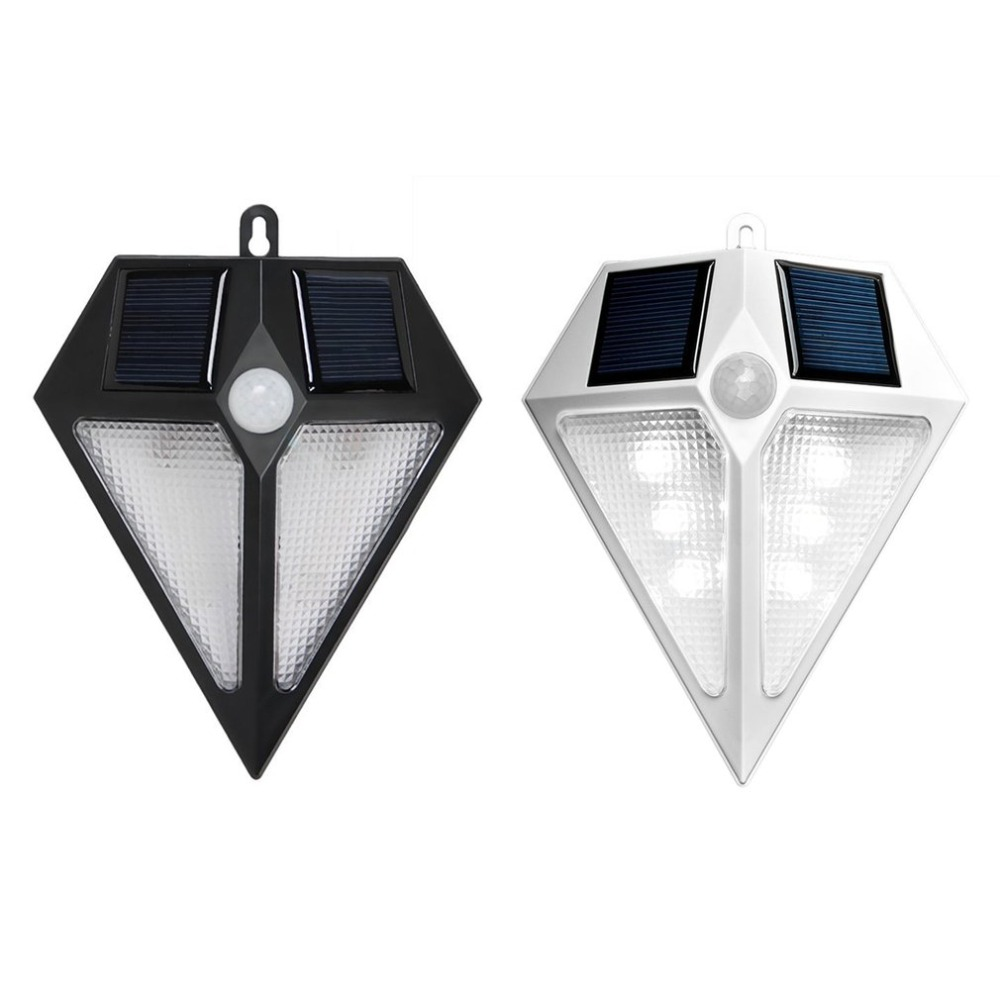 M66 Waterproof Solar Wall Lights Outdoor PIR Motion Sensor 6/ 24 LED Bright Security Lighting Garden Street Lamp White Black ...