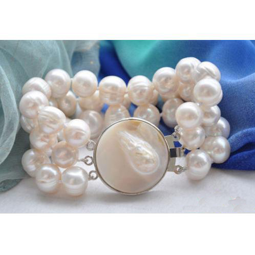 Perfect luck pearl jewellery,3rows 8inches Big Size 13mm White Round Freshwater Pearl Bracelet,Shell ClaspPerfect luck pearl jewellery,3rows 8inches Big Size 13mm White Round Freshwater Pearl Bracelet,Shell Clasp