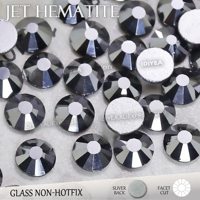 Jet Hematite SS3 SS4 SS5 SS6 SS10 SS20 SS30 for Nail Art Flat Back  Rhinestones Glitter Crystal Decor DIY Non HotFix stone strass eb13389a40af