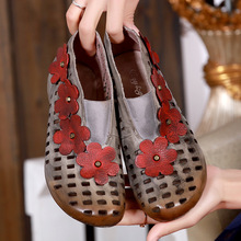 2017 New Spring and Summer Handmade Genuine Leather Women Shoes Head Layer Cowhide Cool Retro Flower Hollow Out Ankle Boots