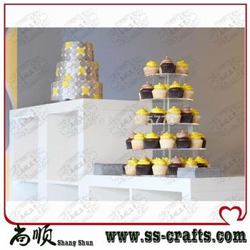 5 Tier Round Acrylic Wedding Cupcake Stand Birthday Cake Holder