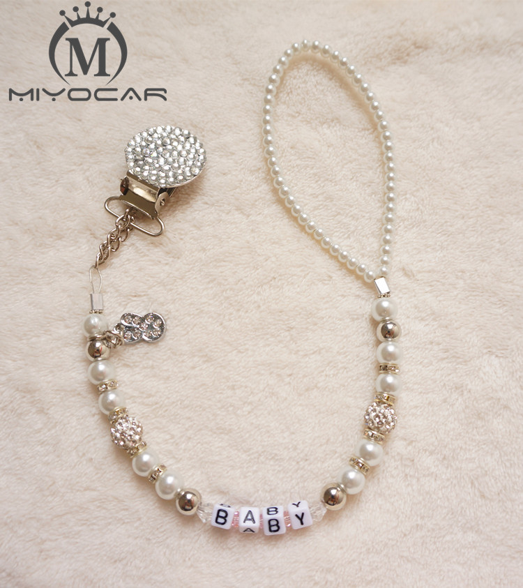 MIYOCAR Personalised Any name Bling silver rhinestone pacifier chain pacifier clips Dummy clip Teethers clip pacifier