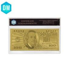 Купюр в долларах США 100, металлическая Золотая фольга, фальшивая банкнота в долларах США, Банкнота в большой пластиковой оправе