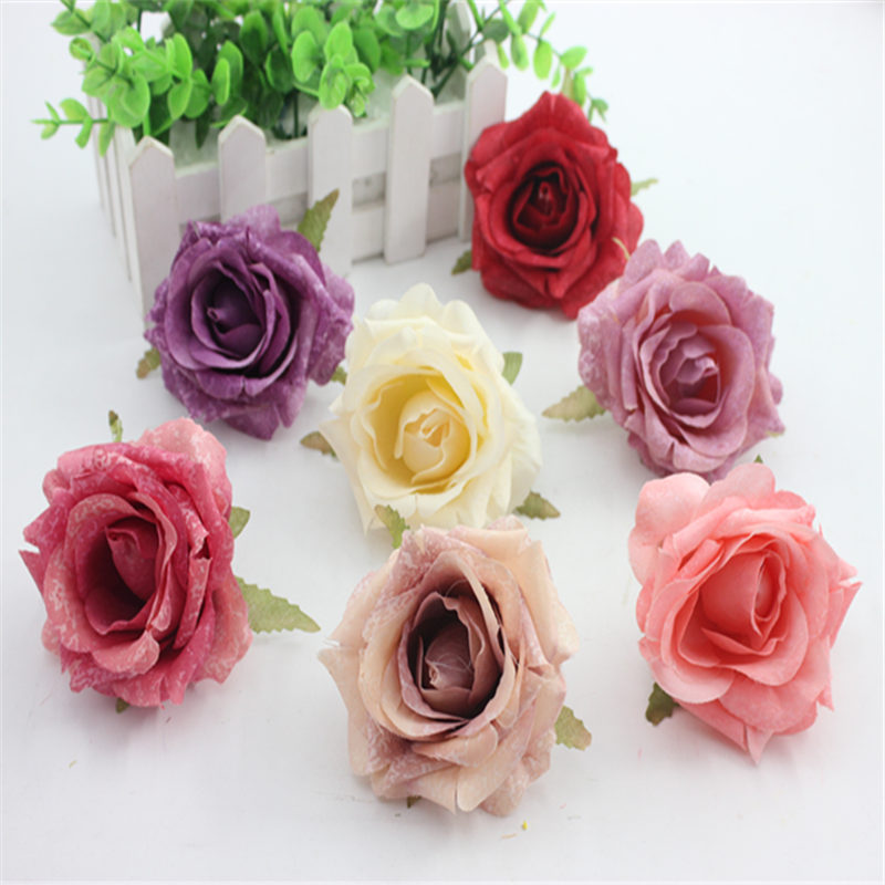 Искусственные цветы розы 1 шт./лот дешевые 6 см для свадебного автомобиля декоративные свадьбу розы Скрапбукинг Craft Флорес моделирования цветок