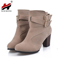 2017 NEW Autumn Winter Short Cylinder Boots With High Heel Boots Shoes Martin Boots Women Ankle