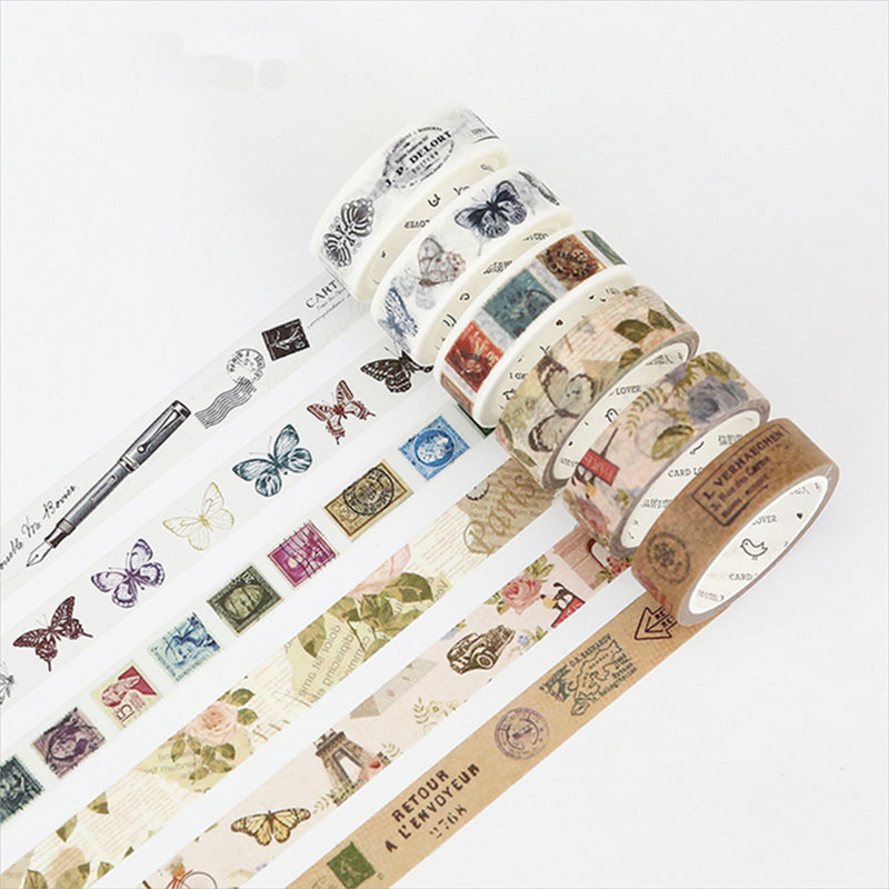 15/30/40mm*7m vintage gothic washi tape DIY decoration tape scrapbooking planner masking  adhesive tape label sticker stationery high quality removable bedroom tiger decoration wall art sticker
