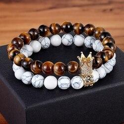 Cool 2pcs/set King Crown Couples Distance Bracelet Natural Stone Beaded Bracelet for Men Women Friend Gift Charm Strand Jewelry