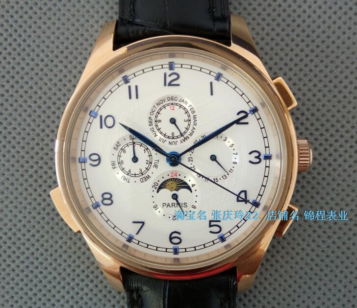 44MM PARNIS Automatic Self-Wind movement white dial multi-funtion men's watch Mechanical watches pvd Rose gold case GL18