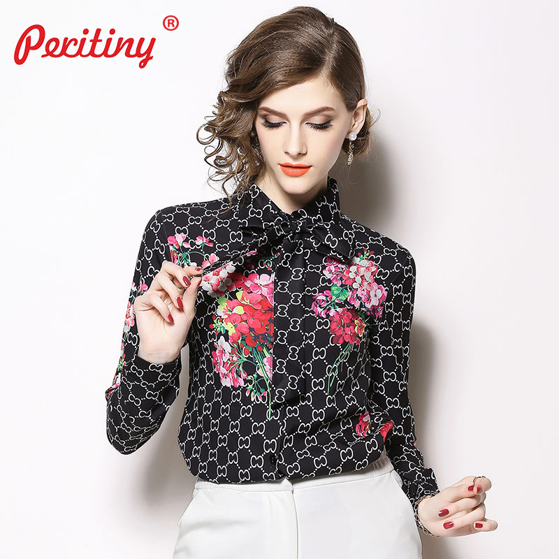 Peritiny Vintage Blouses for Women Tie Neck Long Sleeve Turn-down Collar Women Workwear Modern Lady Floral Vintage Tops