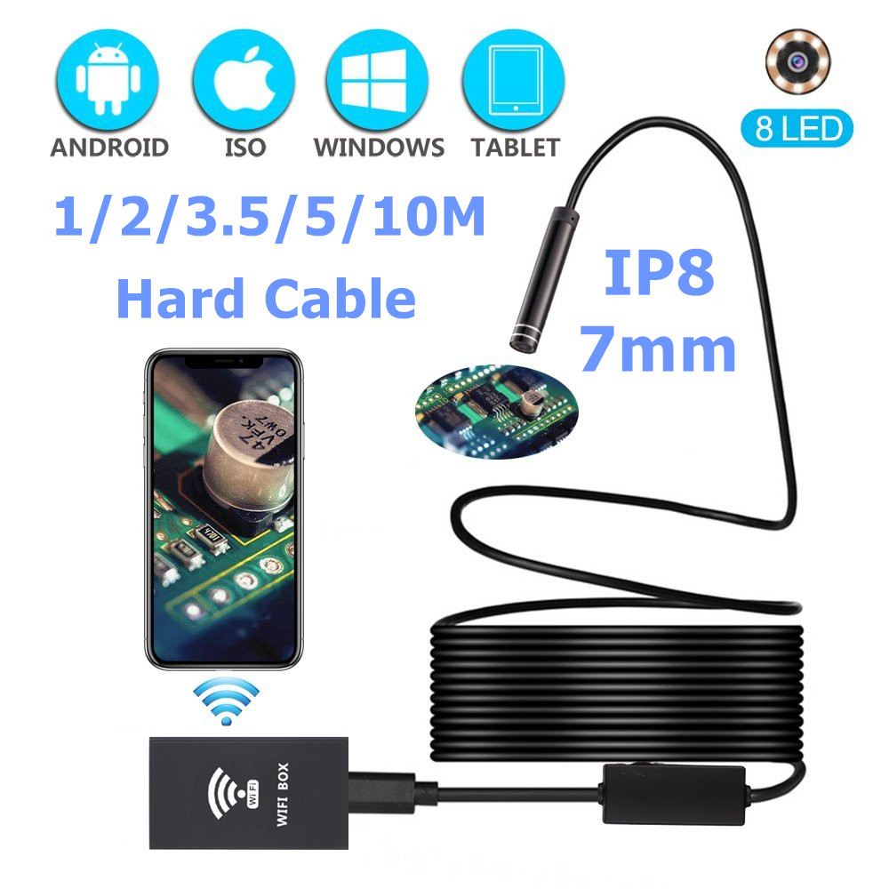 LESHP IP68 WiFi Endoscope 7mm 1/2/3.5/5/10M 1280*720 HD Hard Cable Borescope Inspection Camera with 8 pcs LED For Android iOS PC