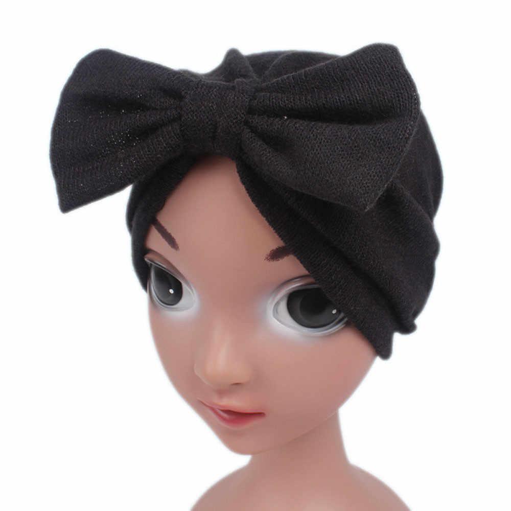 Gran oferta 2019 gorro de invierno para niñas lindas, con lazo, para niños, niñas, gorro tejido, gorro estilo turbante, gorro envolvente, gorro de pila # N20