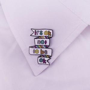 Image 3 - Het Is Ok Niet Naar Ok Pin Mentale Gezondheid Awareness Badge Depressie Zelfmoord Preventie Broche Stop De Stilte Pins emotionele Jood