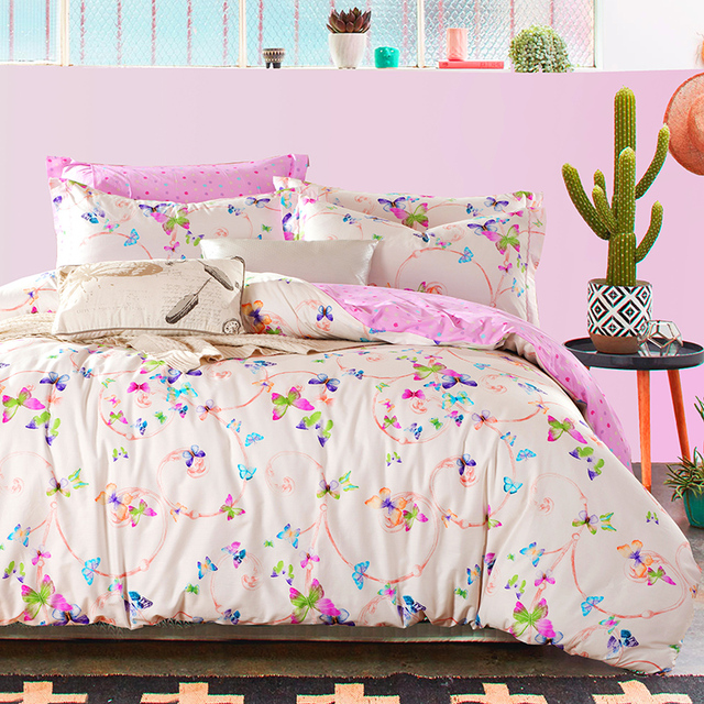 Colorful Butterfly And Polka Dot Bedding Sets Queen King Size Cotton Print  Fabric Bed Linens Duvet