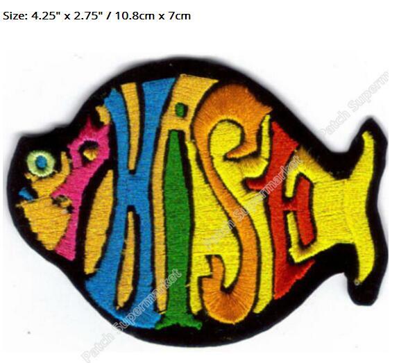 """4,25 """"PHISH FISH MULTI COLOR Banda de Música hierro en parche rockabilly LOGO transferencia motivo aplique Rock Punk insignia al por mayor-in Parches from Hogar y Mascotas    1"""