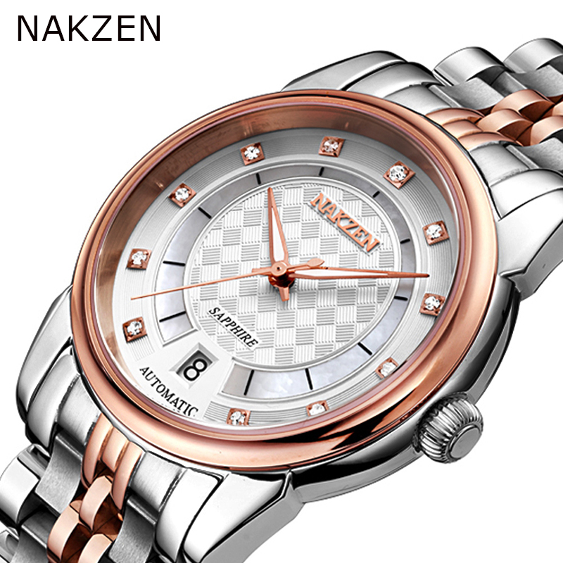 Mechanical Men's Watches NAKZEN Full Stainless Steel Rose Gold Automatic Watch Men Rhinestonesmale Luminous Fashion Wirst-watch nakzen top brand luxury fashion classic business men stainless steel watch automatic mechanical male sapphire luminous watches