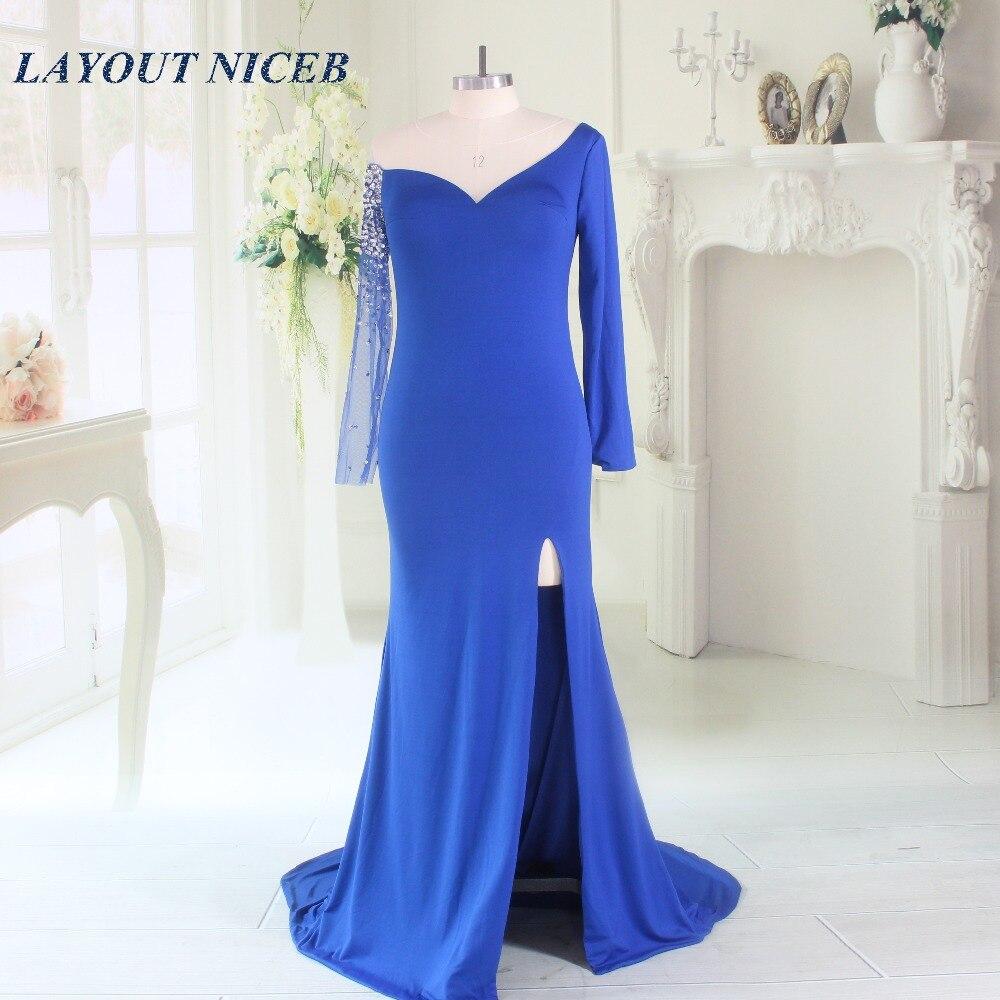 2017 로얄 블루 머메이드 이브닝 드레스 (긴 소매 포함) 스펀지덱스 스페셜 바지 스페셜