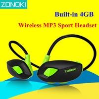 Zonoki M5 Wireless MP3 Sport Headset Fashion MP3 Player Headphone Built In 4GB Memory Card Biking
