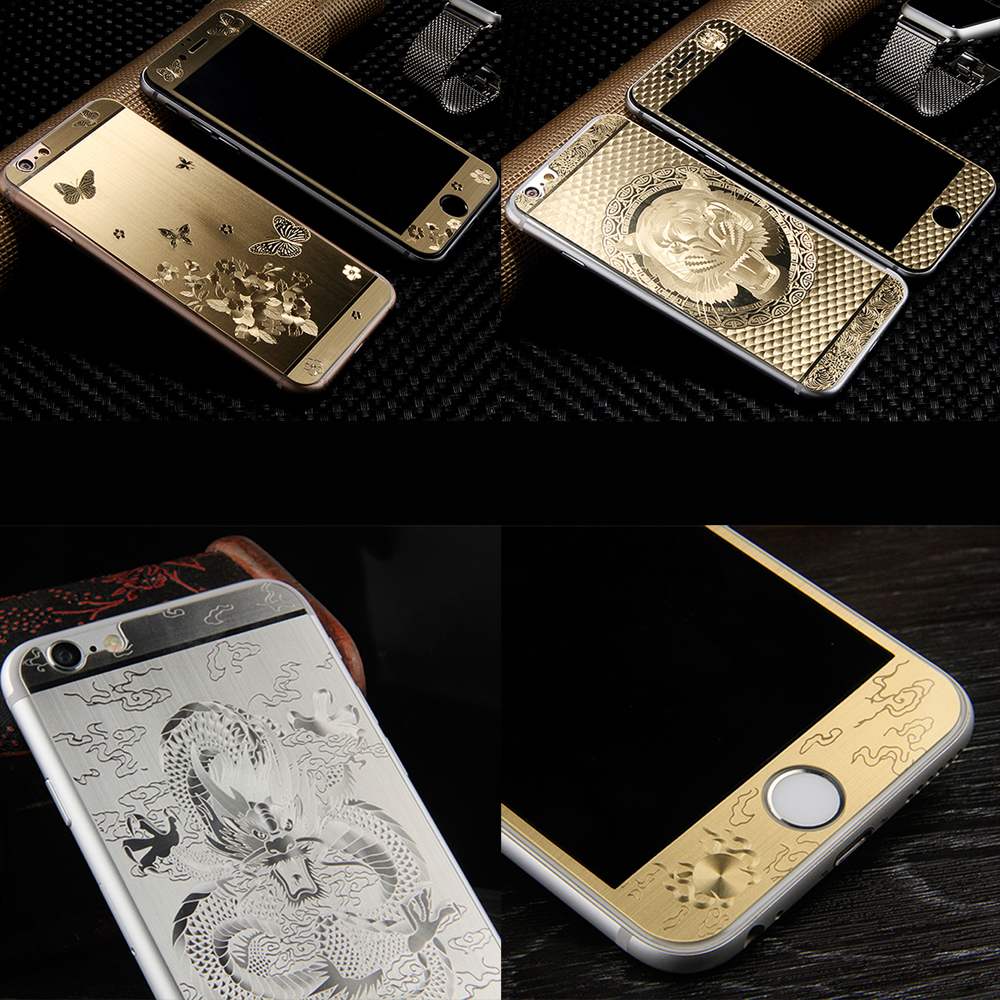 2pcs Front+Back Luxury Gold 3D Painting Full Cover Color Tempered Glass case For iphone 5 5S 6 6S Plus Screen Protector Film