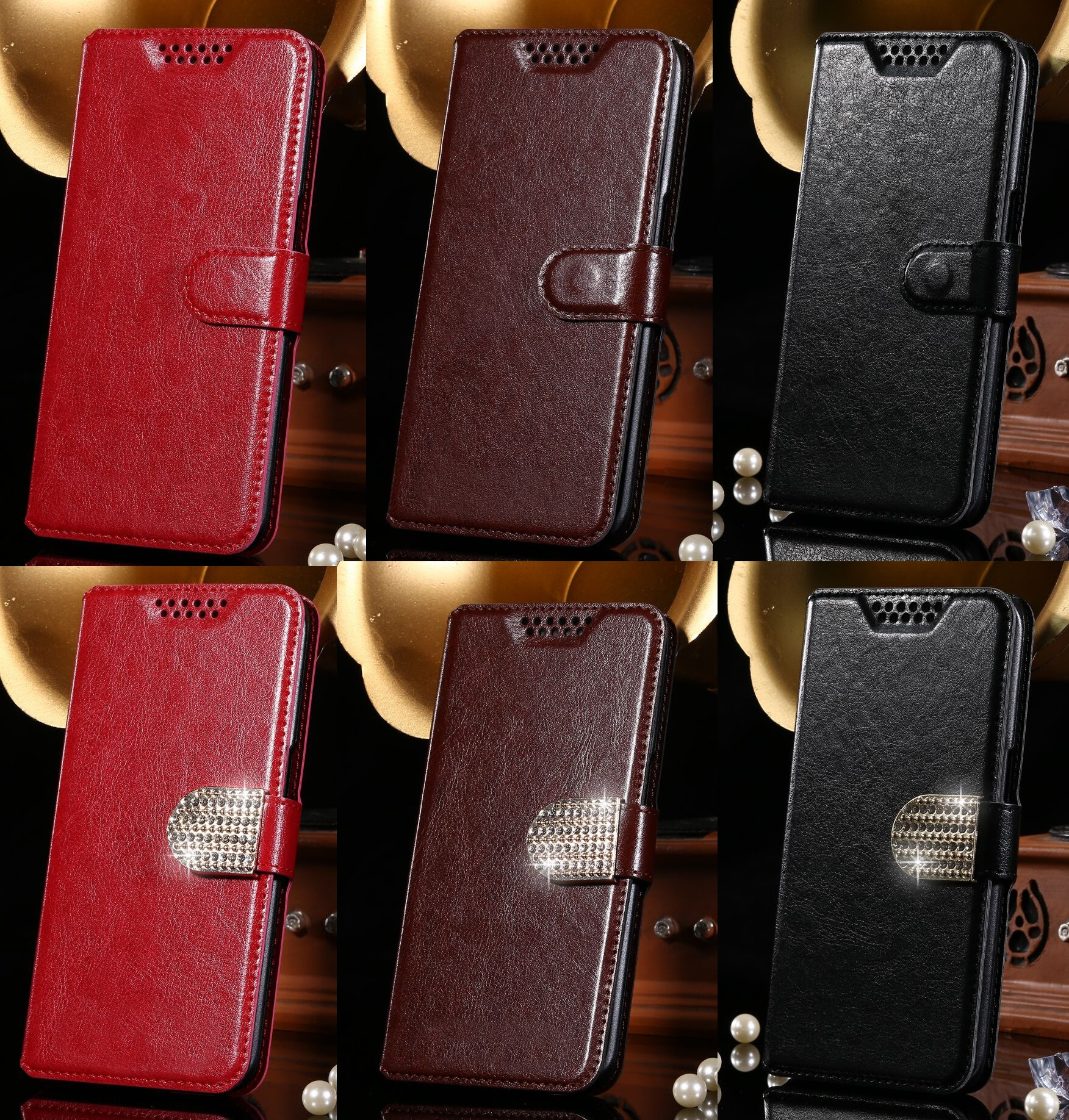 Luxury Wallet PU Case Flip Leather Cover Book Card Slots For Prestigio Muze C5 H3 C 5 H 3 FOR Prestigio Wize P3 P 3