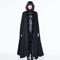 Длинное платье в стиле панк для женщин и мужчин, плащ с открытым перемешиванием, свободные зимние накидки, черная водолазка, верхняя одежда