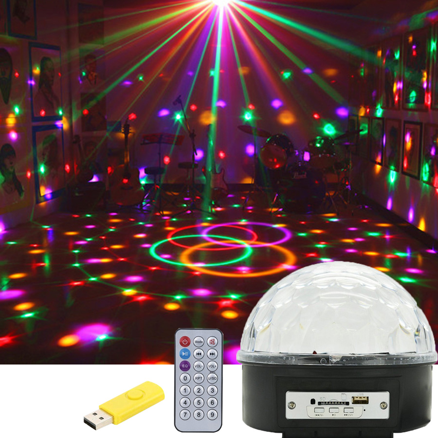 BEIAIDI Musique Boule de Cristal Magique Led Étape Lampe DJ KTV Disco Laser Light Party Sound Light IR Télécommande De Noël projecteur