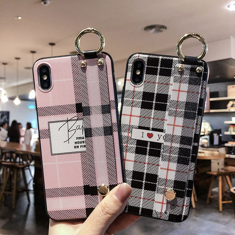 Korean Wrist Strap Ring Phone Case For iphoneXR XS Max Fashion Lattice Holder Stand Case For iPhone6 7 8Plus Soft TPU Back Cover iPhone XS
