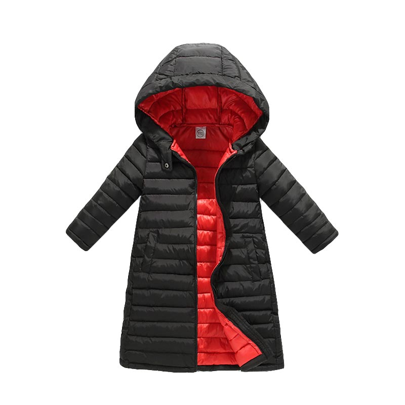 BOTEZAI Girls Down Jackets Children Autumn Winter Coat Clothing Kids Hooded Thin Cotton Padded Jacket Parka Long Overcoat цены онлайн