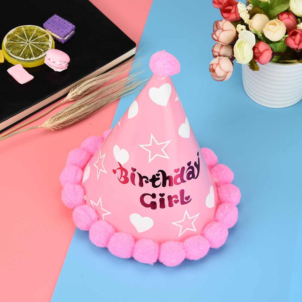 Cute Baby Birthday hat Kid Boy Girl Paper Cone Hats Dress Up My First Birthday Party Xmas Supplies hat P# dropship