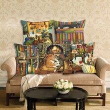 Fashion Cute Book Cat Party Cushion Cover Throw Pillowcase Home Decorative Sofa Linen Square Printing Cojines