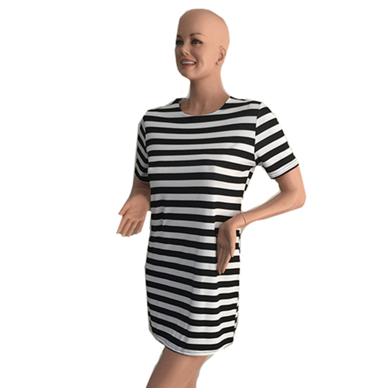 3918faadf296c 2019 summer women black and white striped A line with pocket dresses ladies  girls short sleeve casual dress shirt-in Dresses from Women s Clothing on  ...
