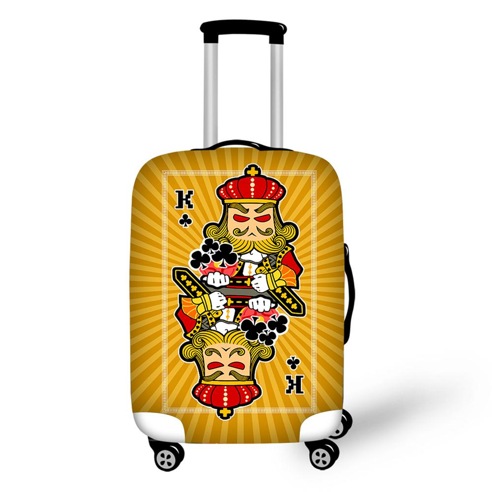 Poker J Q K Print Luggage Protective Cover 18-30 Inch Carrying Case Cover Waterproof Luggage Accessory Bag Travel Trolley Case