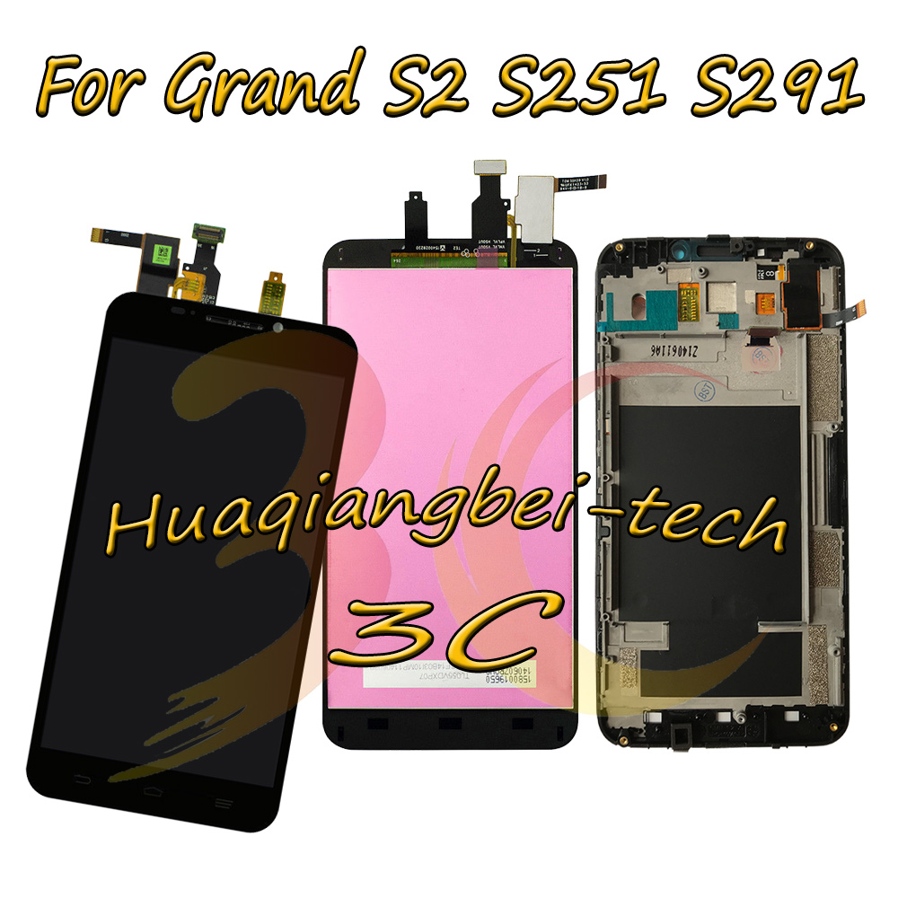 5.5'' New For ZTE Grand S2 S 2 II S251 S291 S252 S221 Full LCD DIsplay + Touch Screen Digitizer Assembly + Frame Cover