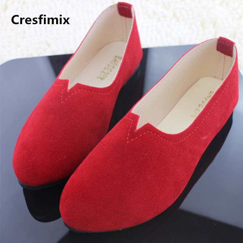 Cresfimix chaussures plates pour femmes women fashion spring slip on flat shoes lady casual plus size shoes female shoes a257 spring summer flock women flats shoes female round toe casual shoes lady slip on loafers shoes plus size 40 41 42 43 gh8