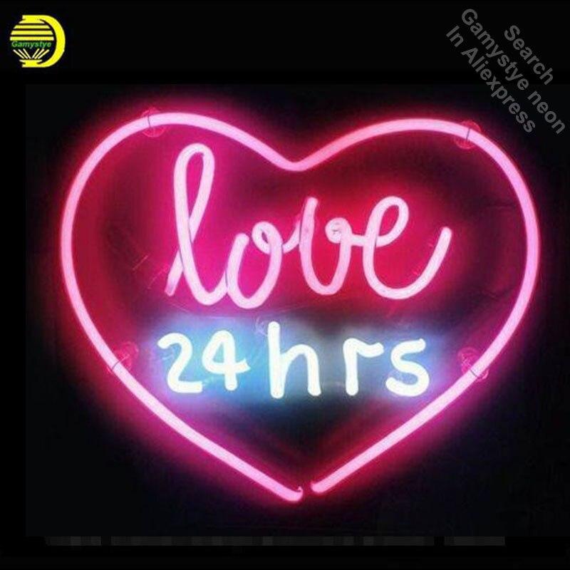 Неоновая вывеска Настоящее стекло любовь 24 часа неоновая световая вывеска пивной бар ресторан домашнее отображение Аркады знаки ручная ра