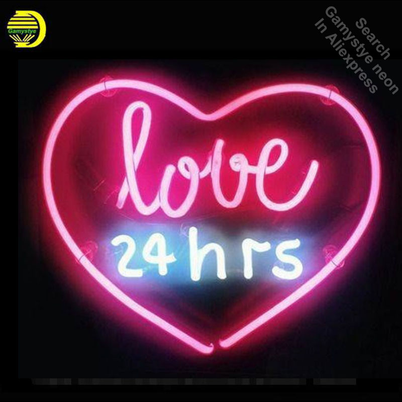 Neon Sign Real Glass Love 24hrs Neon Light Sign Beer Pub Restaurant Home Display Arcade signs handcraft Sign Publicidad 17x14 neon sign open live nudes sexy girl neon light sign decorate real glass tube neon bulb arcade neon sign glass store display17x14
